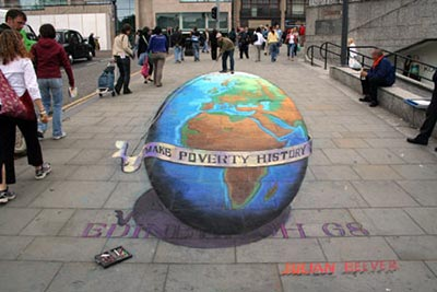 Julian Beever's Make Poverty History